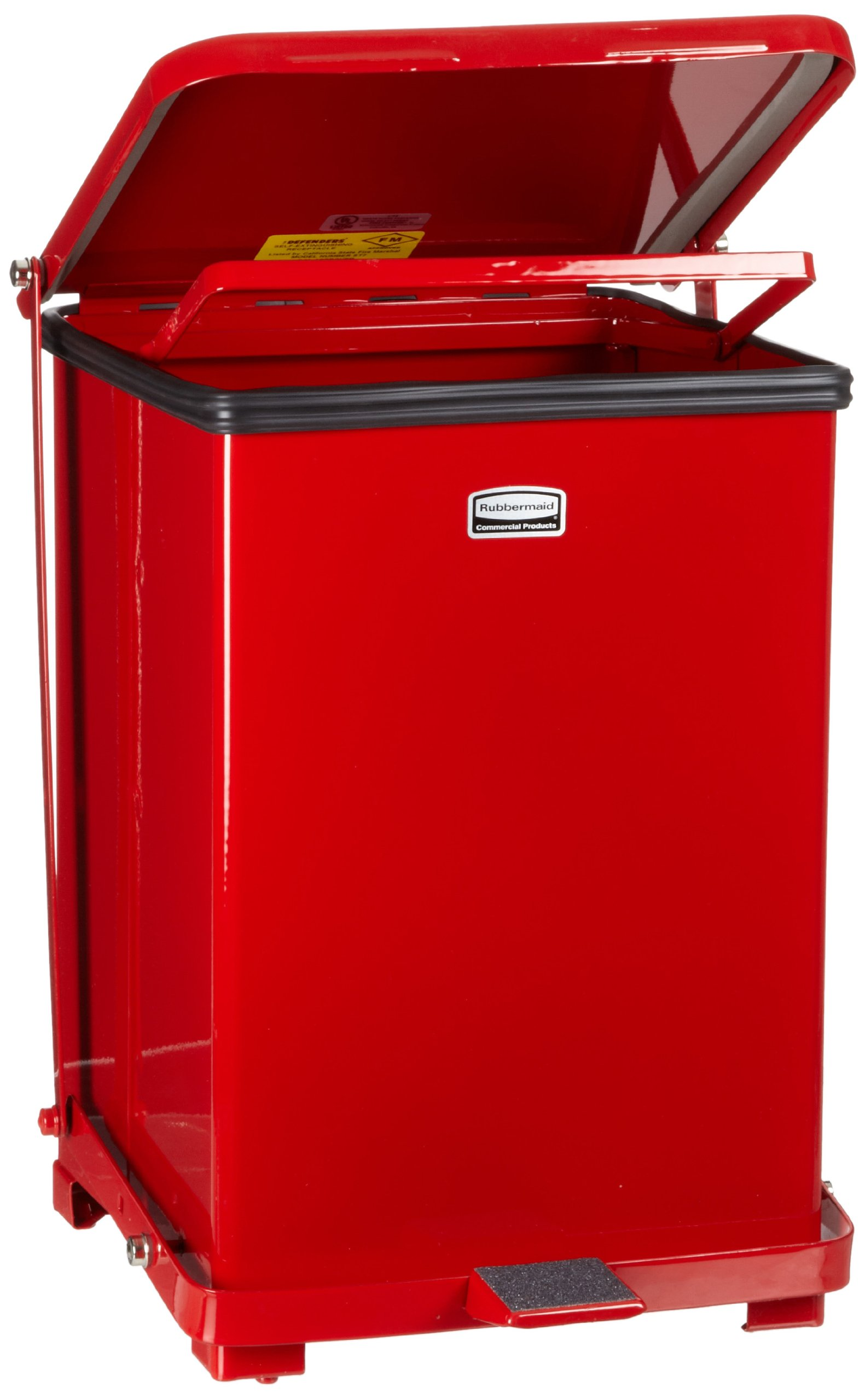 Rubbermaid Commercial Defenders Front Step-On Trash Can with Retainer Bands, 7 Gallon, Red, FGST7ERBRD