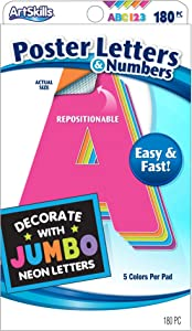 """ArtSkills Jumbo 4"""" Sticky Neon Poster Letters and Numbers, 180 Pieces (PA-1426)"""