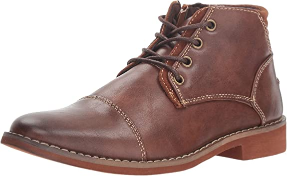 Deer Stags Boys' Hamlin Memory Foam Dress Comfort Cap Toe Boot, Brown, 7 Medium US Big Kid best dress shoes for boys