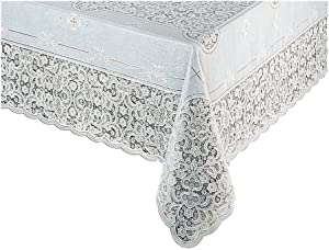 True White Vinyl Lace Tablecloth Elegant, Easy-Care Dryer Safe Also removes Wrinkles (60