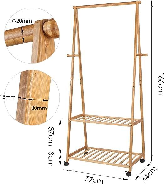 HOMFA Perchero Burro con ruedas Perchero de Bambú con estante para ...
