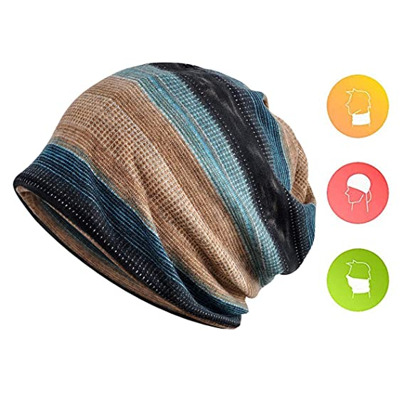 d08ec1b9396 Zando Unisex Soft Beanie Cap Striped Slouchy Chemo Hat Turban Cozy Skull  Cap Lightweight Stretch Sleep Hat for Men Women 3 Pack Blue Red Camel Blue  One Size ...