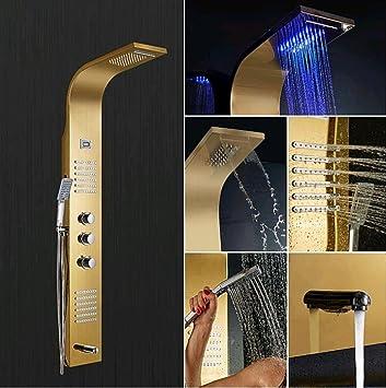 AllureFeng DIY termostática columna de ducha de pulido y dibujo ...
