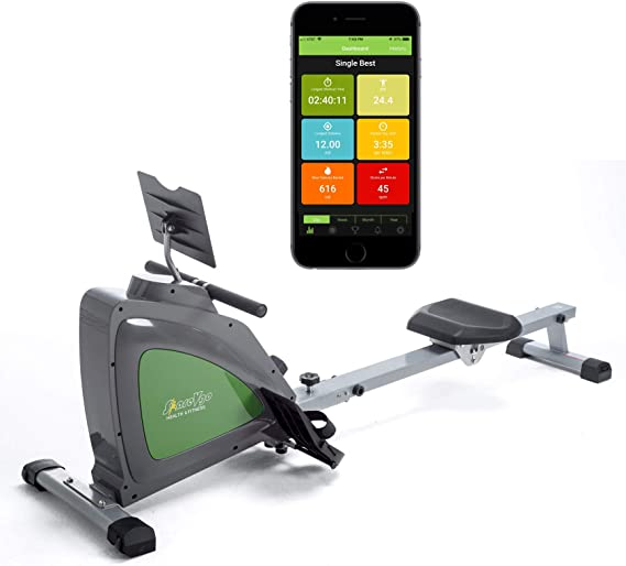 ShareVgo Smart Rower Folding Magnetic Rowing Machine with Free APP for Indoor Full Body Workout Log and Performance Track