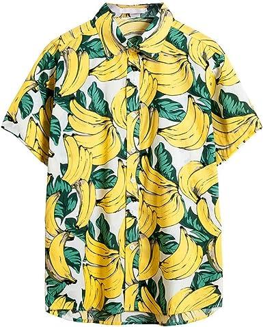 MMUJERY camisa hawaiana hombre verano Camisa de manga corta para hombre casual suelta Patrón de plátano hawaiana Top con estampado Amarillo: Amazon.es: Ropa y accesorios