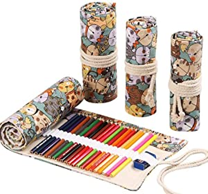 Flyusa Colored Canvas Pencil Case Roll Wrap Holders for Student Artist Adult Coloring Travel Storage Organizers with 72 Slots(Cute Cat)