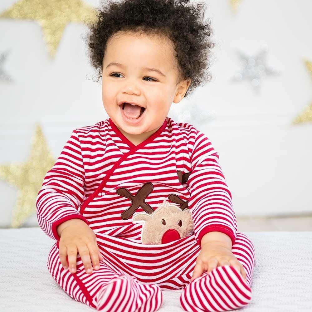 JoJo Maman Bebe Baby Fun Applique Reindeer Fur Sleepsuit Romper RRP /£20