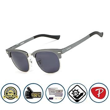 397b449c909 Soxick Grey black Matte Metal Half Frame black Polarized lens Round Aviator  Wayfarer Dark Sunglasses