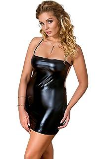 Mini-Kleid M-2XL Damen Dessouskleid Kleid Im Wetlook Kleid Minikleid In Schwarz