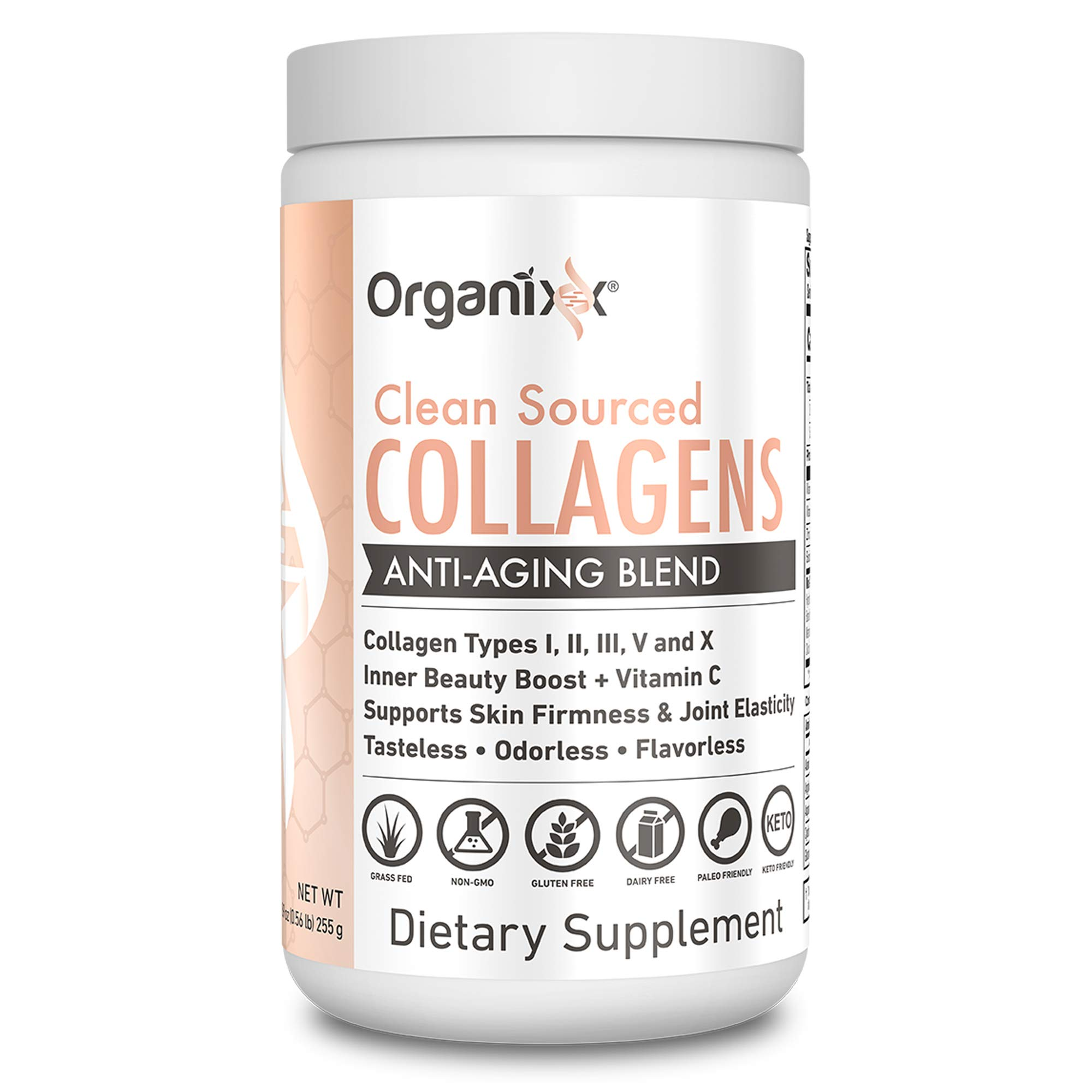 Collagen Powder - 5 types in 1 - Improves Hair, Skin and Nails - 4 Sources Including Marine Collagen and Bone Broth Collagen - Clean Sourced Collagens by Organixx (30 Servings)