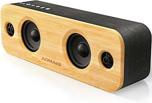 AOMAIS Life Bluetooth Speakers, 30W Loud Home Party Wireless Speaker, 2 Woofer 2 Tweeters for Super Bass Stereo Sound, 100 Ft Bluetooth V5.0 and 12-Hour Playtime Subwoofer Imitation Bamboo Panel