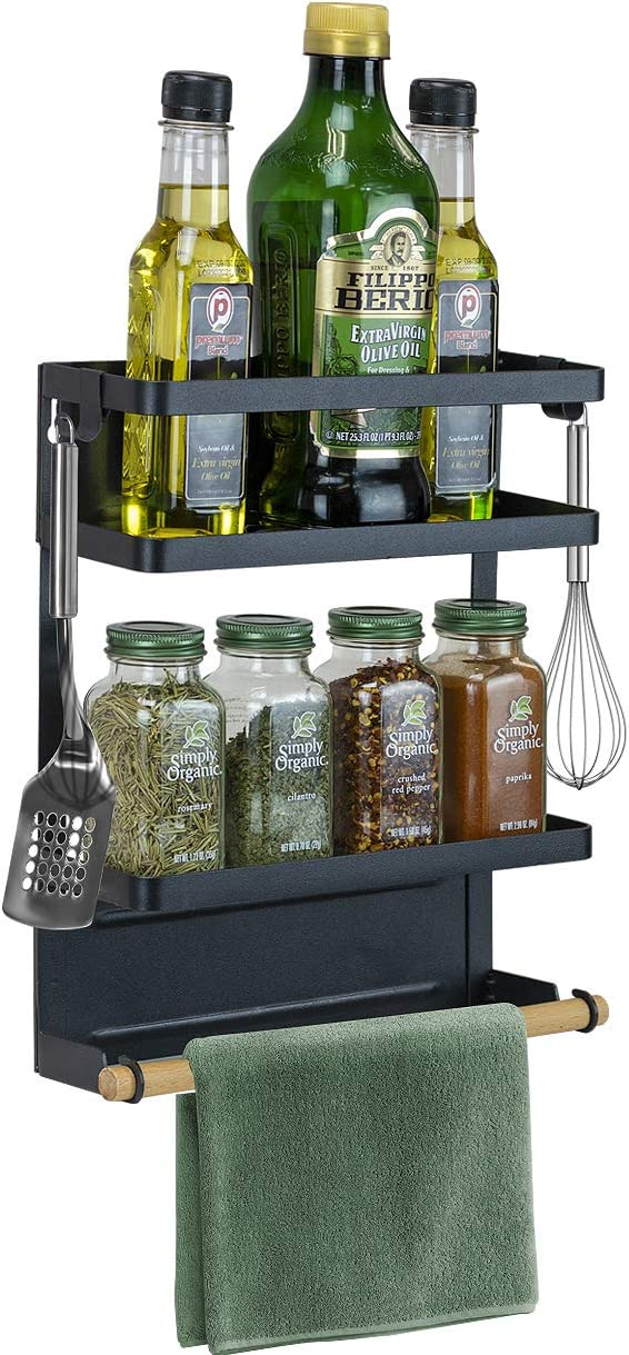 Sorbus Magnet Spice Rack Organizer for Refrigerator, 3-Tier Magnetic Storage Shelf with Paper Towel Holders and 5 Hooks, Multi-purpose, (Medium, Black)