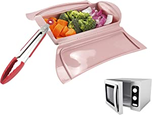 Microwave Cookware Steamer Basket for Veggie Fish Seafood Cooking, With Draining Tray, With Silicone Kitchen Tongs, Long