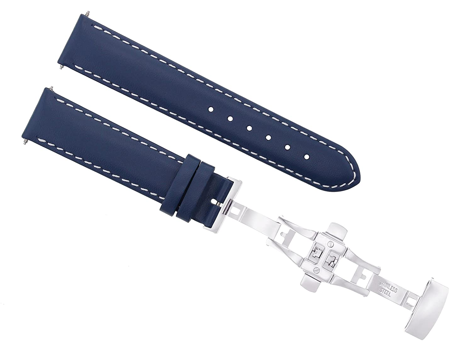 18 – 19 – 20 – 22 – 24 mm本革バンドスムーズな導入Clasp for Longinesブルー# 2 24mm Blue with white stitching  Blue with white stitching 24mm B07DHMVWH5