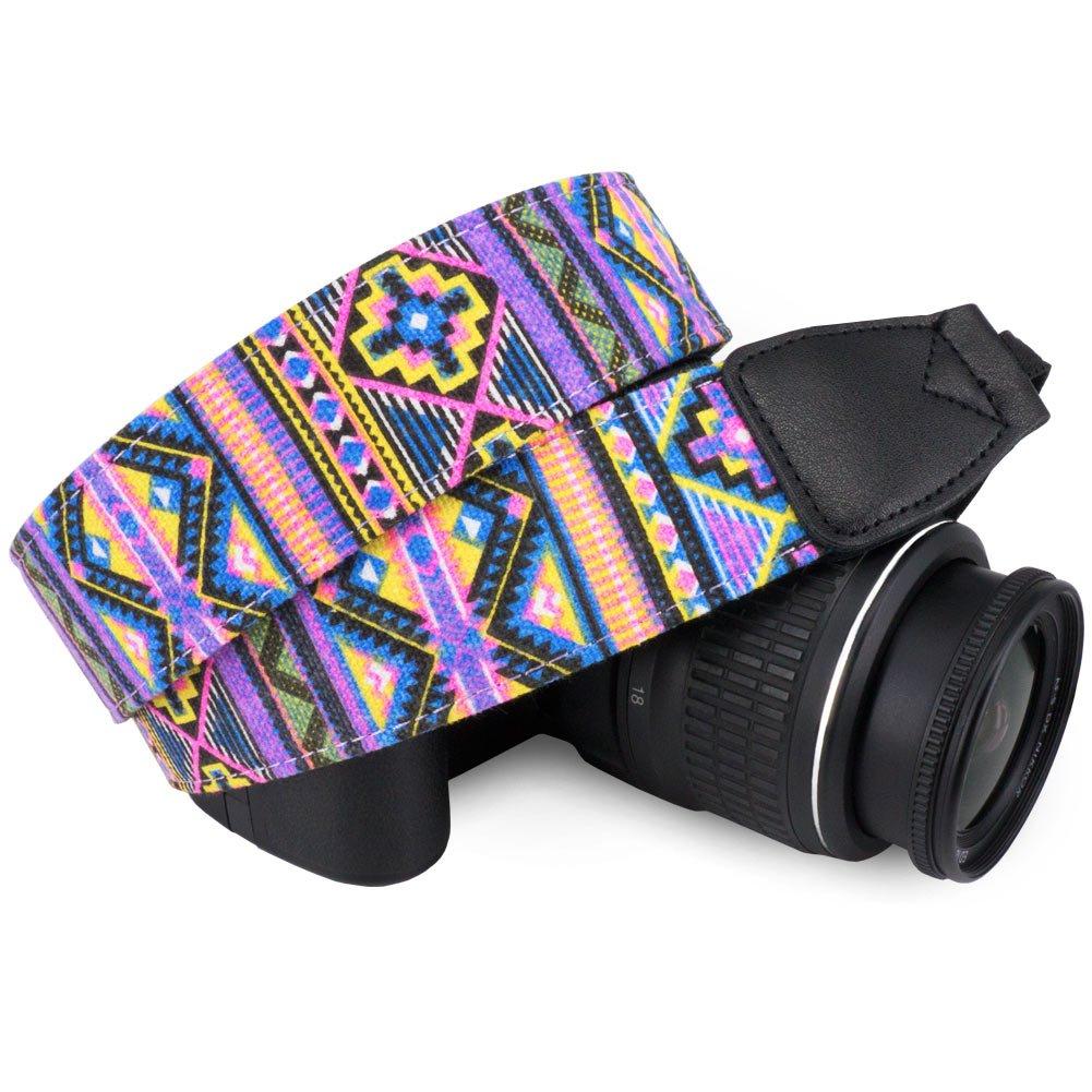 Wolven Canvas DSLR/SLR Camera Neck Shoulder Belt Strap for Nikon,Canon,Sony,Samsung,Pentax,Olympus,Leica Camera Etc, Fushia Stripe Pattern