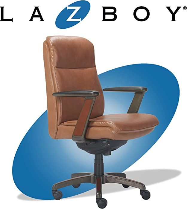La-Z-Boy Dawson Modern Executive Office, Adjustable High Back Ergonomic Computer Chair with Lumbar Support, Brown Bonded Leather with Wood Inlay
