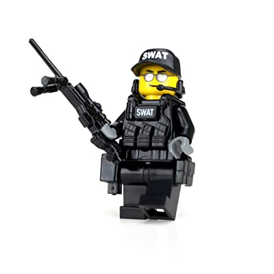 Battle Brick Police SWAT Team Sniper (SKU52) Custom Minifigure: Toys & Games