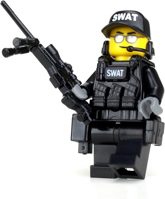 Amazon Com Battle Brick Police Swat Team Sniper Collectible Custom Minifigure Toys Games