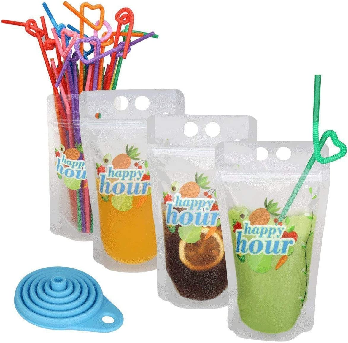 "120 Pcs Zipper Plastic Pouches Drink Bags, Heavy Duty Hand-Held Translucent Frosted Reclosable Stand-up Bag 2.4"" Bottom Gusset with 120 pcs Straws & Funnel Included"