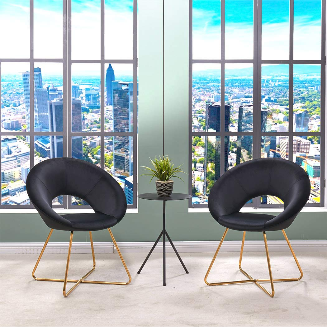 Velvet Dinning Chair Set of 2 Mid-Back Support Accent Arm Chair Modern Leisure Upholstered Chair with Gold Plating Legs