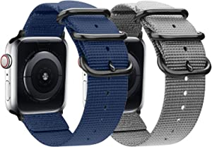 nylon Band Compatible with Apple Watch Band 44mm 42mm 40mm 38mm, Lightweight Breathable Woven Nylon Sport Wrist Strap with Metal Buckle Compatible 5/4/3/2/1 (11-Navy blue/Gray, 42mm/44mm)