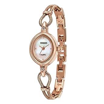 Time100 W40123L.02A Reloj pulsera de joya concha para mujer, correa de color dorado estilo arte: Amazon.es: Relojes