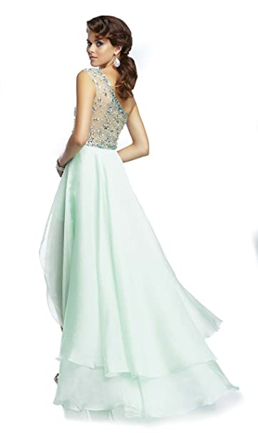 Amazon.com: Mori Lee Paparazzi 95054 One Shoulder Prom Dress, Powder Blue, 10: Clothing