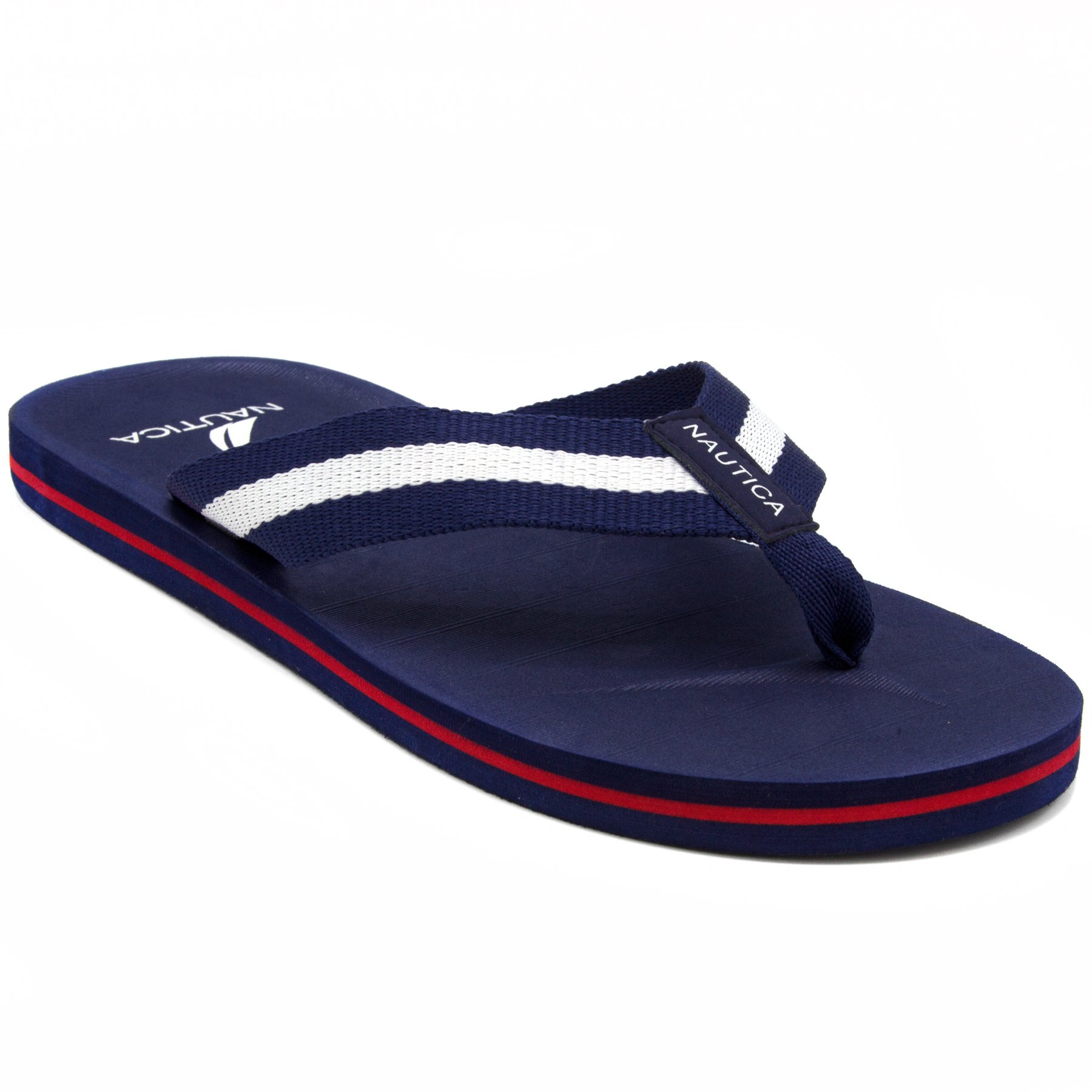 Nautica Men's Footrope Flip Flop, Beach Sandal, Boat Slide-Red-11