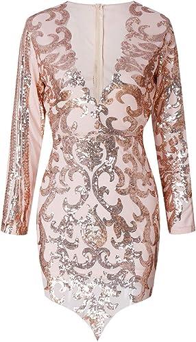 Fasumava kobiety wieczÓr Bodycon sukienka zima gorąca V cekiny nieregularne sukienki: Odzież