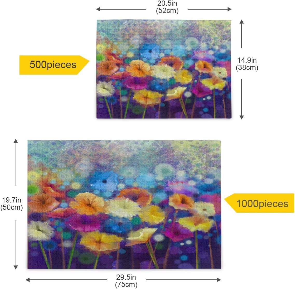 Funny Family Games,Home Decoration Qilmy Abstract Floral Watercolor Puzzles for Adults 500 Pieces Landscape Puzzle Set