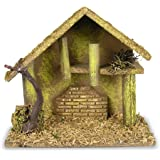 Nativity Creche - Medium Nativity Stable Covered with Moss and Wood Chips - Wooden Creche for Nativity Scene
