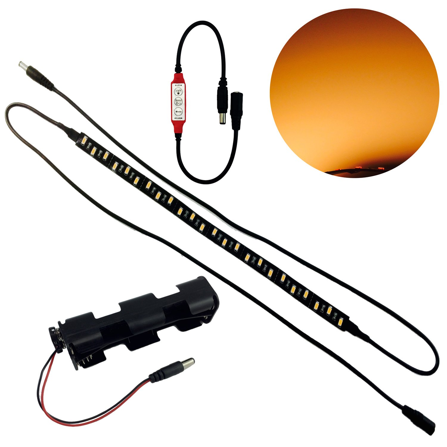 Candlelight LED flex 1775 Kelvin high CRI 93 candle light spectrum 12 volts DC 4 watts with flame flicker effects control strip for props scenery theatrical filmmaking and video by LED Lighting