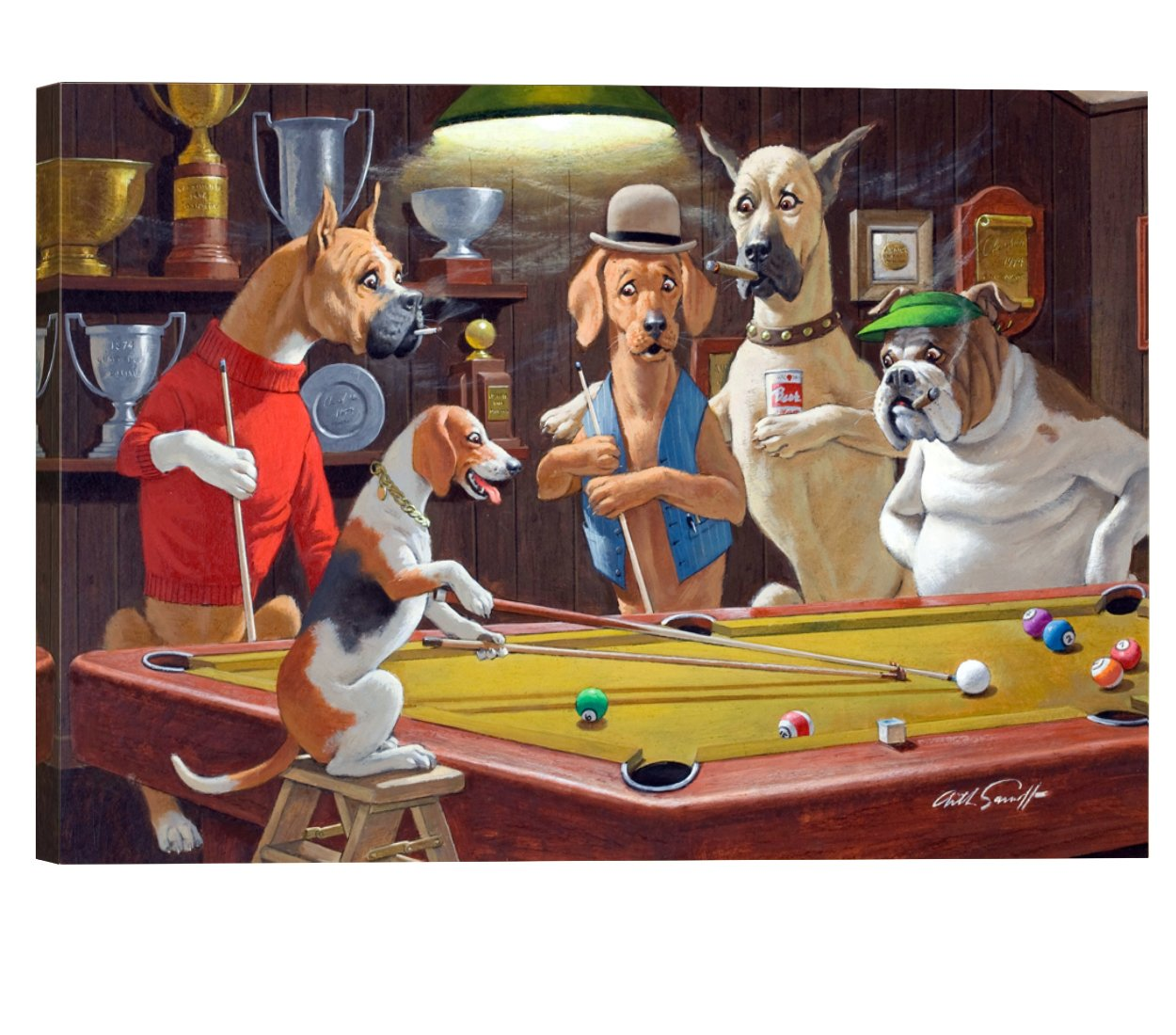 Elite Art Eliteart-Dogs Playing Pool (c) By Arthur Sarnoff Oil Painting Reproduction Giclee Wall Art Canvas Prints by Elite Art