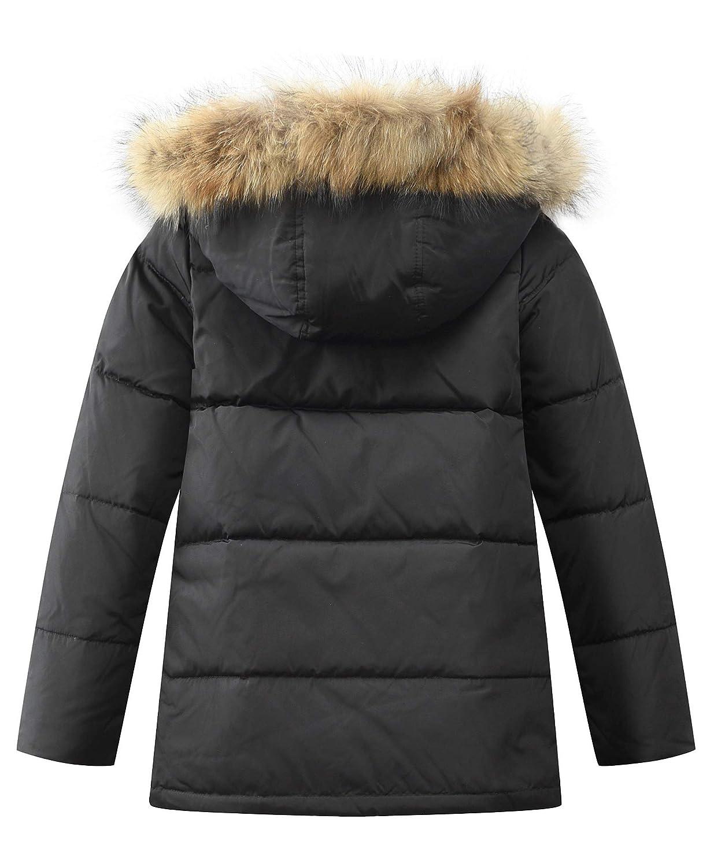 FTCayanz Jungen Daunenjacken Winterjacke mit Kapuze Kinder Lange Mantel Warm Wintermantel