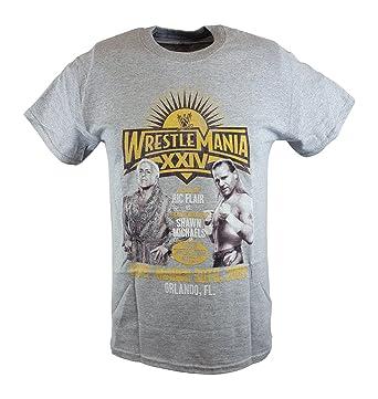 febe96d2755 Wrestlemania 24 XXIV Ric Flair vs Shawn Michaels WWE Mens Grey T-shirt-S