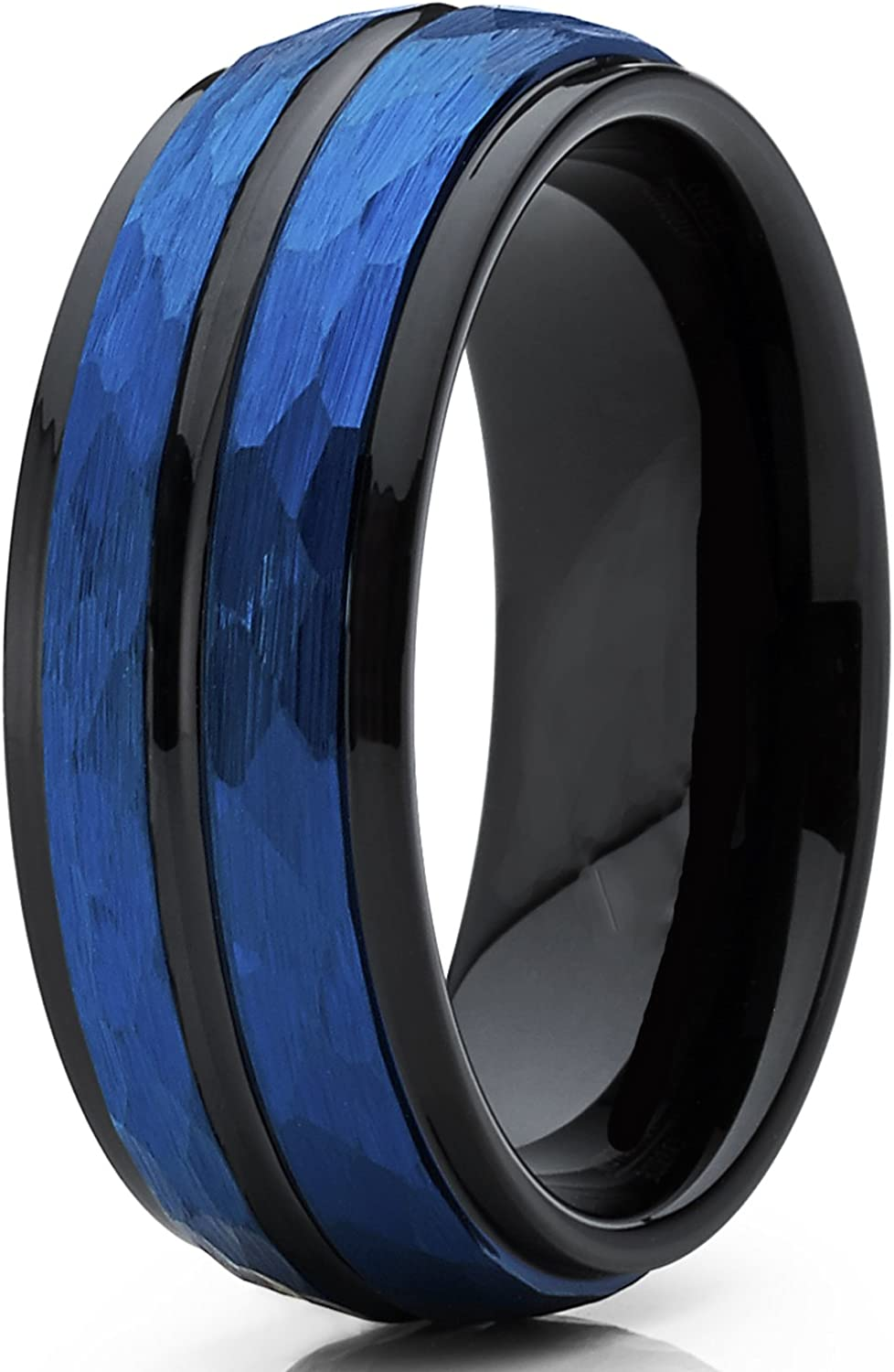 8mm Blue and Black Dome Tungsten Carbide Wedding Band Ring with Hammered Brushed Finish Metal Masters Co