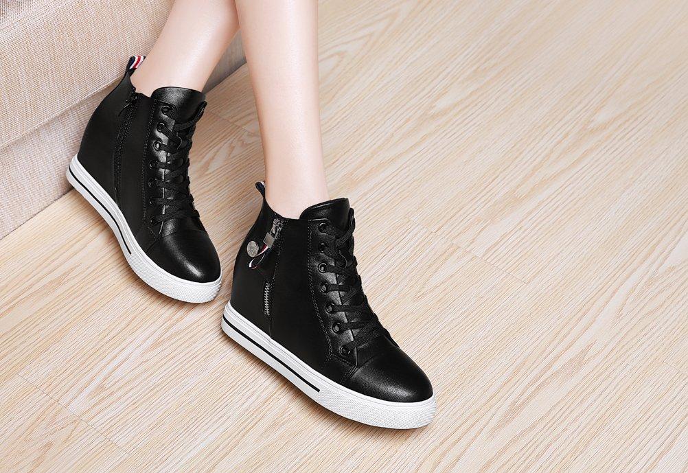 Youxuan Women's Fashion Flat Walking Shoes Zipper Girls Ankle High Casual Elevator Shoes Black 7M US by Youxuan (Image #7)