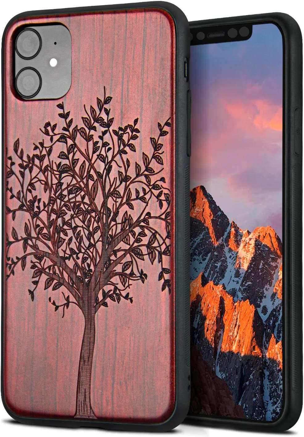 YFWOOD Compatible for iPhone 11 Case 6.1 inch, Unique Wood Shockproof Drop Proof Bumper Protection Cover for iPhone 11