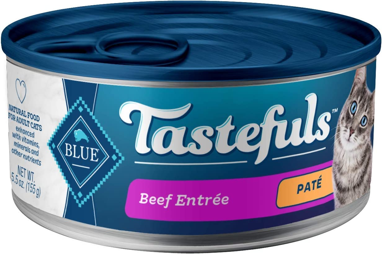 Blue Buffalo Tastefuls Natural Pate Wet Cat Food, Beef Entrée 5.5-oz cans (Pack of 24)