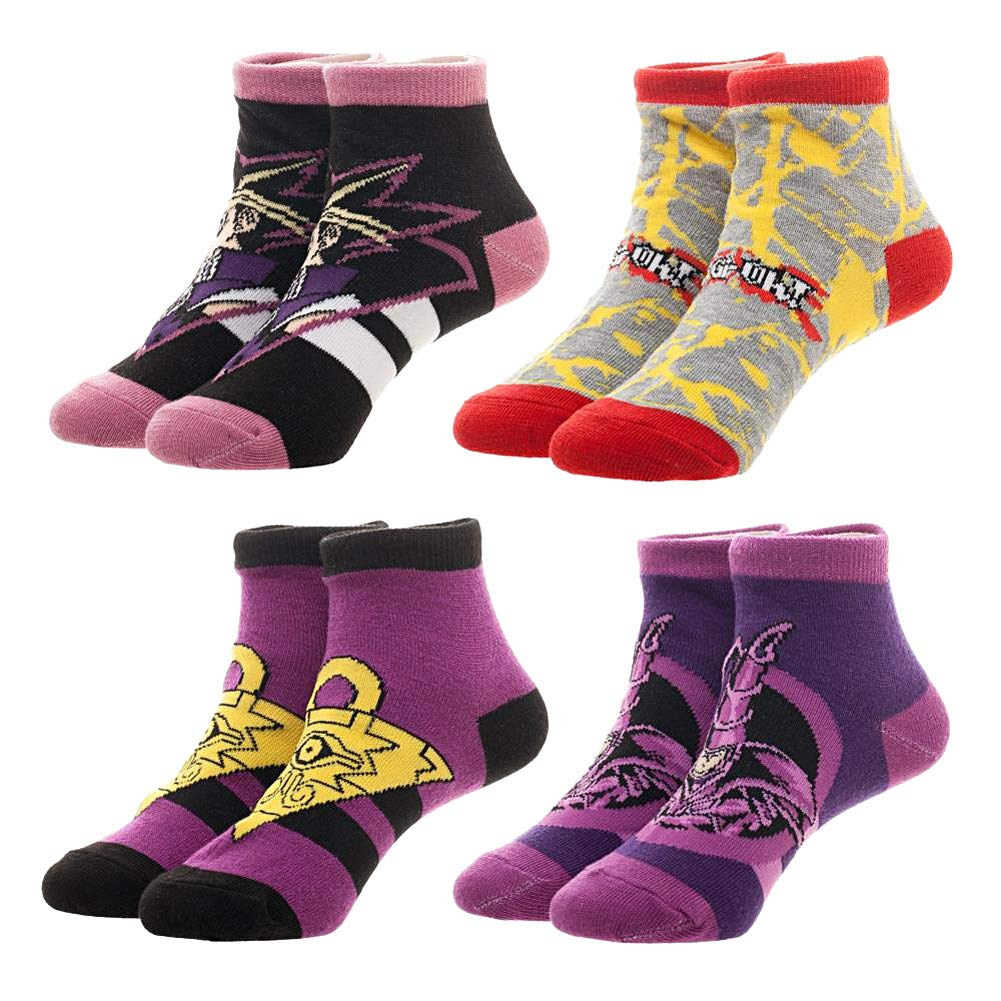 Yu-Gi-Oh! Youth Boys Dark Magician Yaml Yugi 4 Pair No-Show Ankle Socks Bioworld