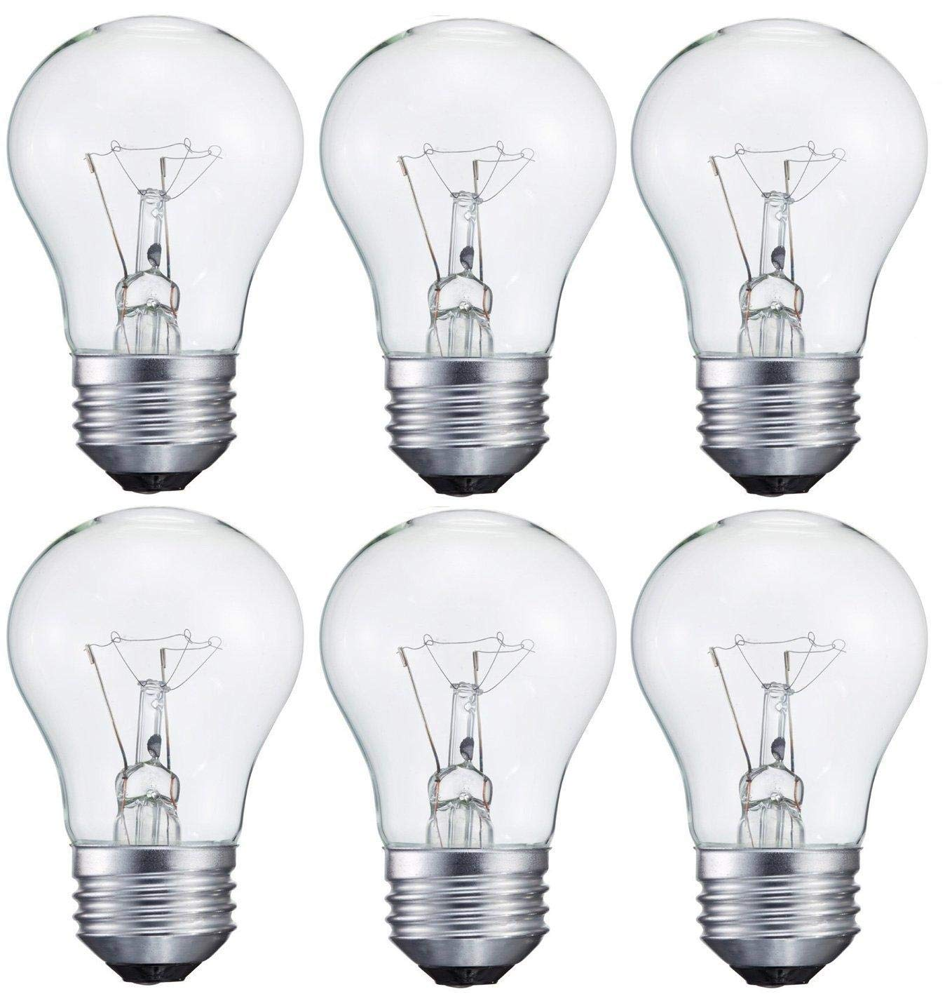 (6-Pack) 40-Watt Light Bulb for Appliance or Ceiling Fan, Incandescent, Crystal Clear, Dimmable, A15, Medium Standard Household Base E26, by Smart Value