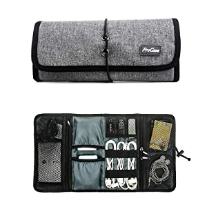ProCase Accessories Bag Organizer, Universal Electronics Travel Gear Organize Case, Cable Management Hard Drive Bag, Healthcare Kit and Cosmetics Bag -Grey