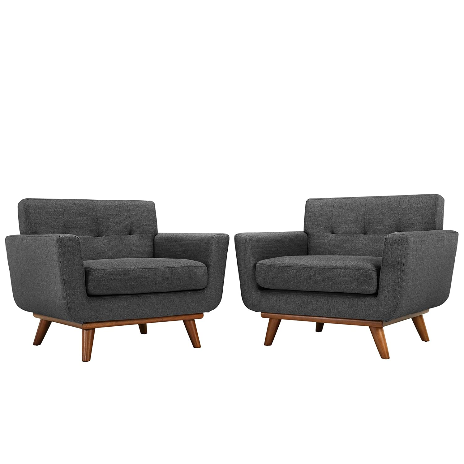 Modway Engage Armchair Wood Set of 2 in Gray
