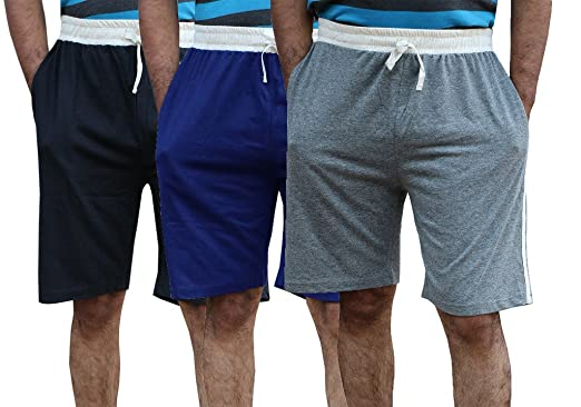 Elk Men's Cotton Shorts Trousers Clothing - 3 Colour Set Men's Shorts at amazon