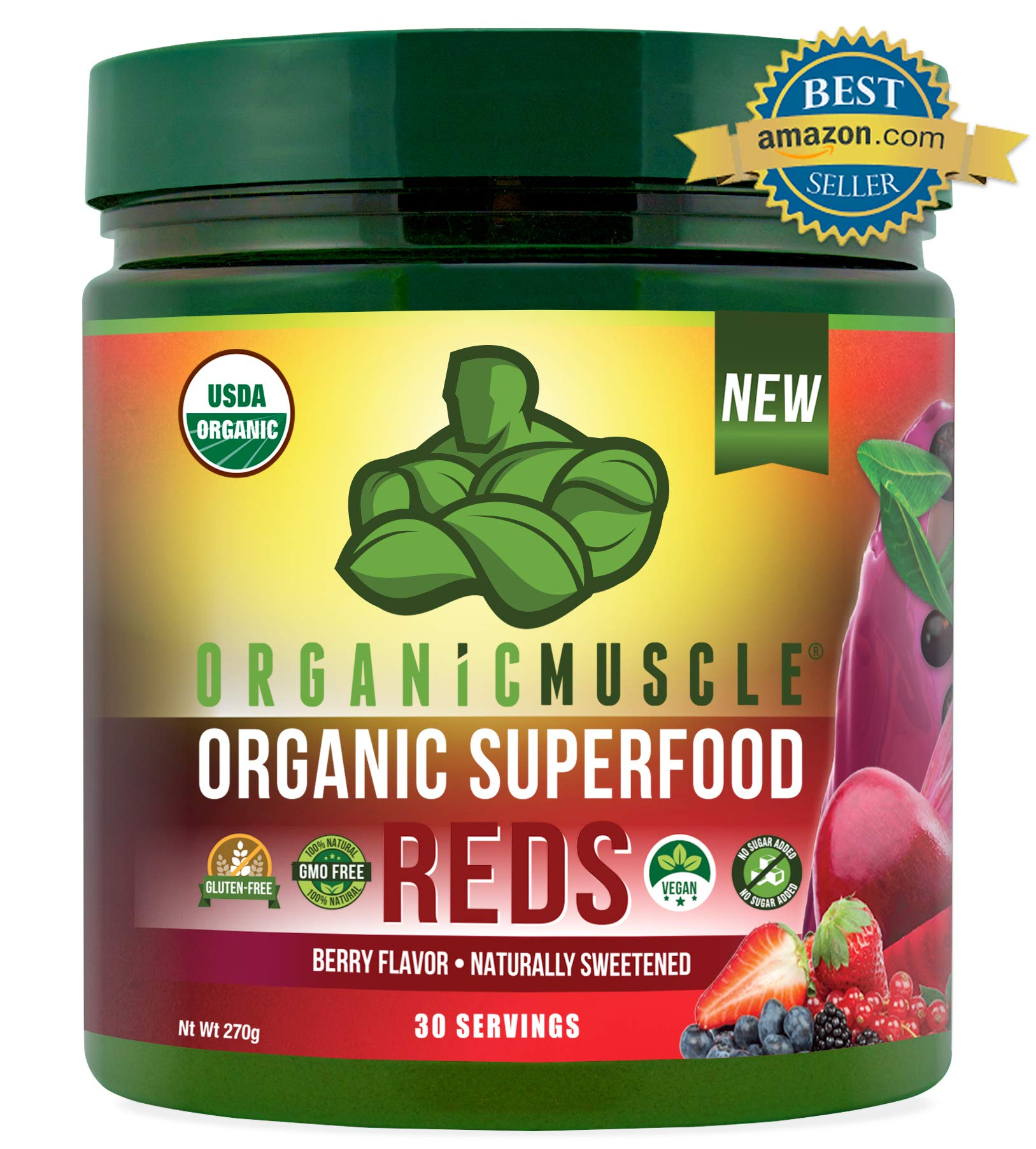 Certified Organic Superfood Reds Powder | Vital Reds Juice Supplement for Detox, Energy, Focus, Digestion, Metabolic Boost & Anti-Aging | Vegan, Non-GMO, Berry Flavor, 30 Day Supply | ORGANIC MUSCLE by Organic Muscle