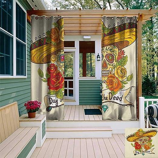 Amazon Com Leinuoyi Sugar Skull Outdoor Curtain Waterproof