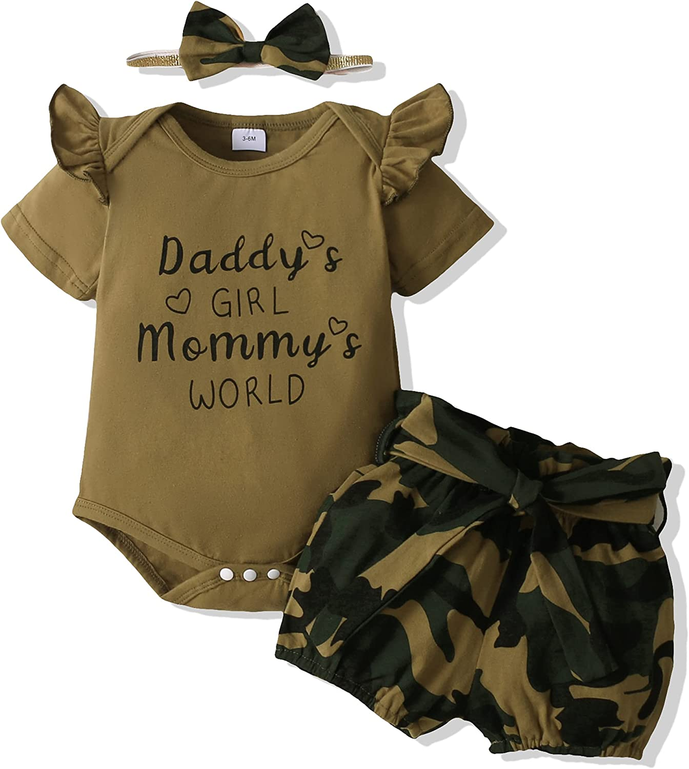 Renotemy Newborn Infant Baby Girl Clothes Summer Outfits Stuff Romper Pants Cute Toddler Baby Girl Shorts Sets