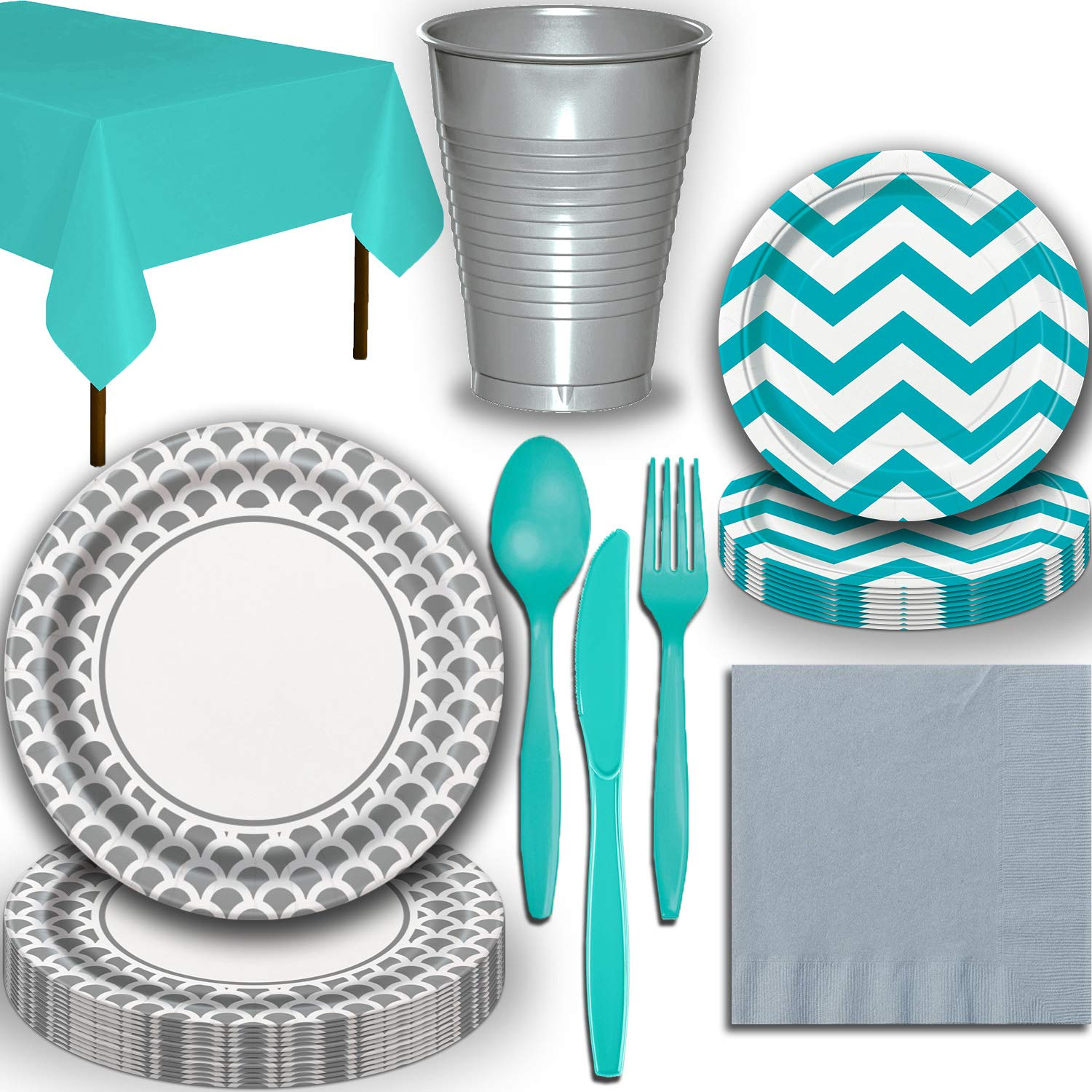 Disposable Tableware, 32 Sets - Silver and Caribbean Teal - Scallop Dinner Plates, Chevron Dessert Plates, Cups, Lunch Napkins, Cutlery, and Tablecloths: Premium Quality Party Supplies Set by HeroFiber (Image #2)