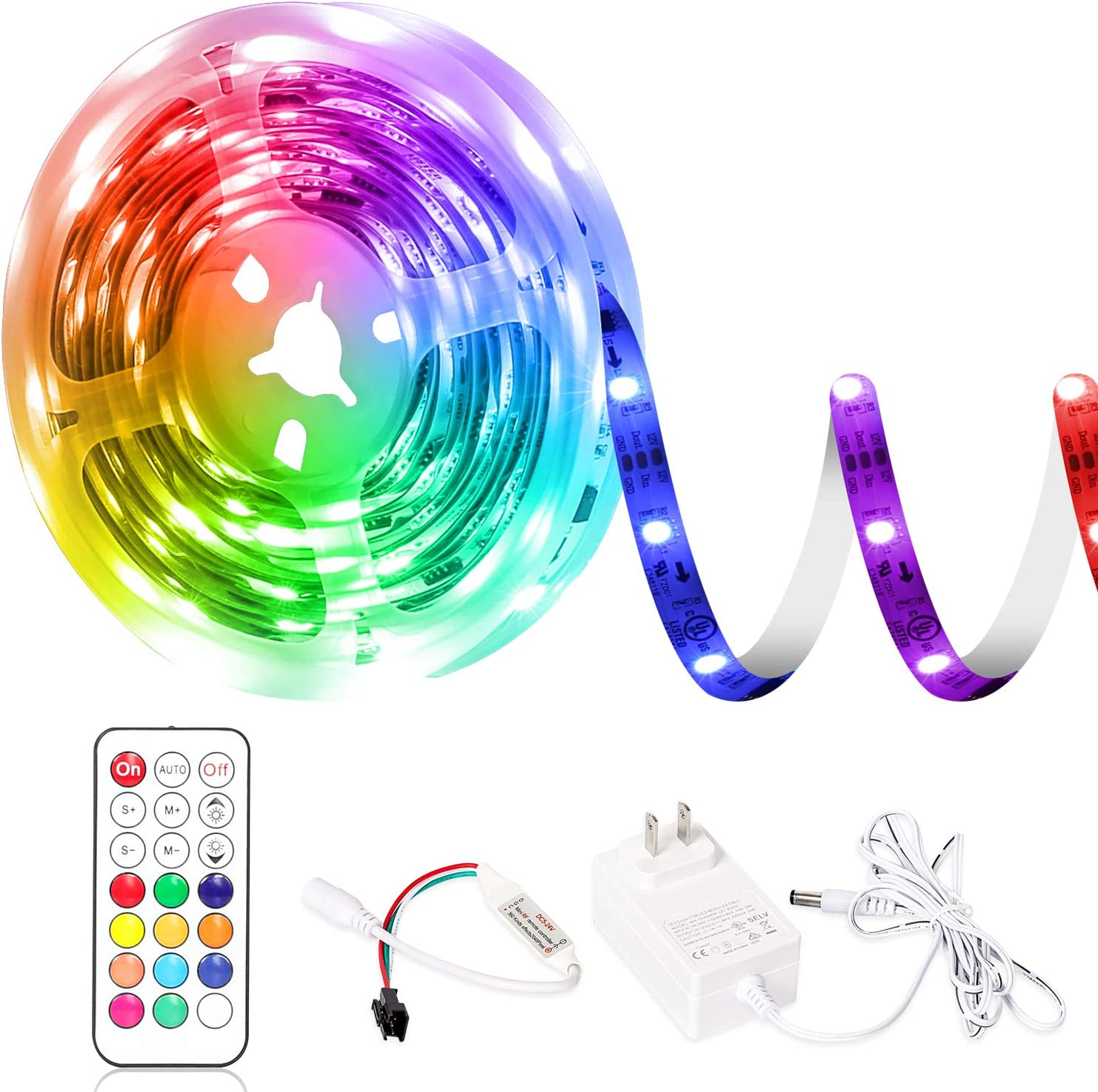 DreamColor LED Strip Lights,PAUTIX RGBIC 16.4ft Color Changing UL Listed Rainbow Light Strip Kit with Remote Controller for Home Bedroom Kitchen Party DIY Decoration