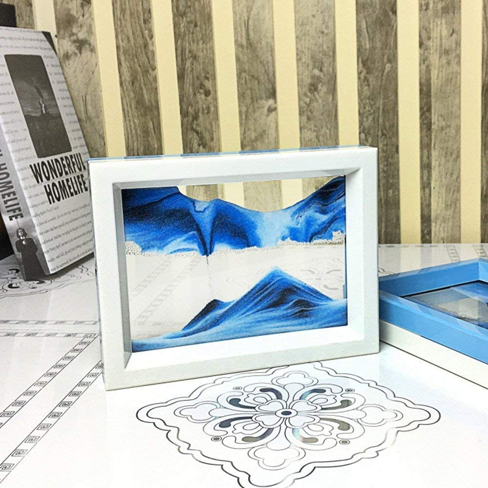 whimsyyy Dynamic Sand Picture Medium Desktop Art Toys Voted Best Gift! - Black White Blue Blue, Black,White,Blue Ocean Heart